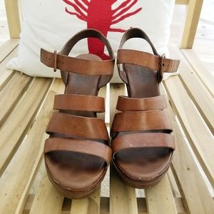 KORK EASE leather brown strappy wedge heel sandals